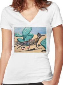 Roadrunning Home From Party Women's Fitted V-Neck T-Shirt