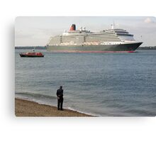 Watching Cunard's Queen Victoria leave Southampton Water, southern England Canvas Print