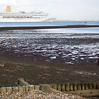 P&O's Oriana leaving Southampton Water seen from Calshot, south coast of England by Philip Mitchell