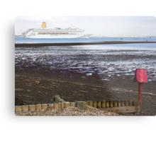 P&O's Oriana leaving Southampton Water seen from Calshot, south coast of England Metal Print