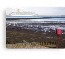 P&O's Oriana leaving Southampton Water seen from Calshot, south coast of England Canvas Print