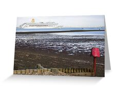 P&O's Oriana leaving Southampton Water seen from Calshot, south coast of England Greeting Card