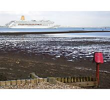 P&O's Oriana leaving Southampton Water seen from Calshot, south coast of England Photographic Print