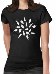 Black and White Bottles Womens Fitted T-Shirt