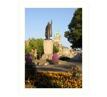 Alfred's statue & The Guildhall, The Broadway, Winchester, southern England Art Print