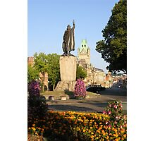 Alfred's statue & The Guildhall, The Broadway, Winchester, southern England Photographic Print