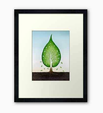 Green leaf shaped tree growing from earth concept art photo print Framed Print