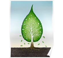 Green leaf shaped tree growing from earth concept art photo print Poster