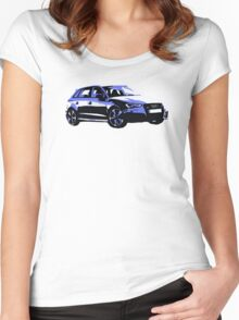 Awesome AUDI RS3 S3 VAG VW JDM - Street Car sports hatchback art Graffiti Popart  warhol Women's Fitted Scoop T-Shirt