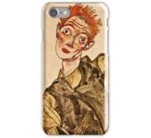 Egon Schiele - Self Portrait with Striped Armlets (1915)  iPhone Case/Skin
