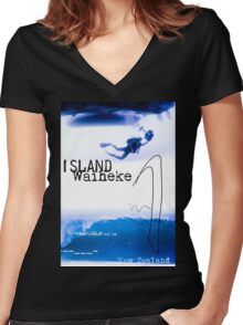 Waiheke island poster Women's Fitted V-Neck T-Shirt