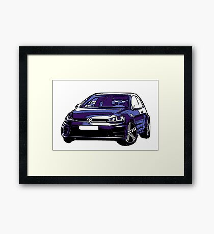 Awesome VOLKSWAGEN R GTI GT GTD VAG VW JDM - Street Car sports hatchback art Graffiti Popart  warhol Framed Print