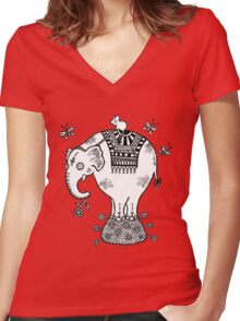 White Elephant T-Shirt Women's Fitted V-Neck T-Shirt