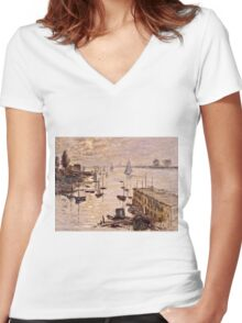 Claude Monet - Le Bassin dArgenteuil vu depuis le pont routier (1874)  Women's Fitted V-Neck T-Shirt