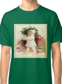 Vintage christmas card from Victorian era,rustic,cute,typography Classic T-Shirt