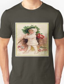 Vintage christmas card from Victorian era,rustic,cute,typography Unisex T-Shirt
