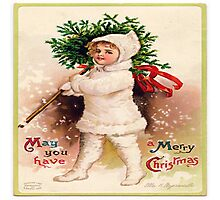 Vintage christmas card from Victorian era,rustic,cute,typography Photographic Print