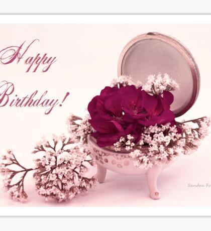 Happy Birthday Card - Pink Geranium In Vintage Dish  Sticker