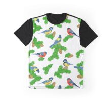 Seamless pattern with fir paws, titmouse and bullfinches Graphic T-Shirt