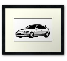 Awesome HONDA CIVIC TYPE R ek9 integra prelude VW JDM - Street Car sports hatchback art Graffiti Popart  warhol Framed Print