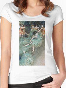 Edgar Degas - Swaying Dancer (Dancer in Green) (1877 - 1879)  Women's Fitted Scoop T-Shirt