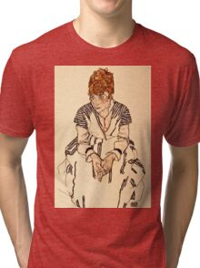 Egon Schiele - Portrait of the Artists Sister in Law, Adele Harms, 1917  Tri-blend T-Shirt