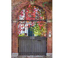 Garden gate in Autumn, Perugia, Italy Photographic Print