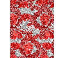 William Morris Floral, Deep Red and Gray / Grey  Photographic Print