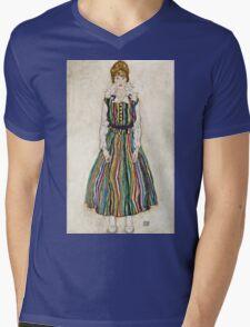 Egon Schiele - Portrait of Edith (the artists wife) (1915)  Mens V-Neck T-Shirt