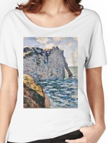 Claude Monet - The Cliff of Aval, Etretat (1885)  Women's Relaxed Fit T-Shirt