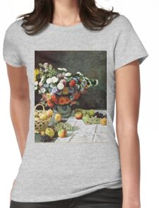 Claude Monet - Still Life with Flowers and Fruit (1869)  Womens Fitted T-Shirt