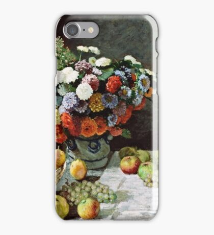 Claude Monet - Still Life with Flowers and Fruit (1869)  iPhone Case/Skin