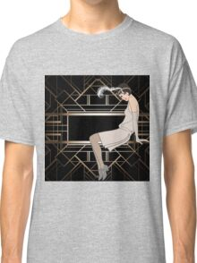 Art deco,gold,black,pattern,cute,Flapper girl,beautiful,elegant,chic,The Great Gatsby,vintage,retro, Classic T-Shirt