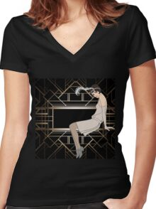 Art deco,gold,black,pattern,cute,Flapper girl,beautiful,elegant,chic,The Great Gatsby,vintage,retro, Women's Fitted V-Neck T-Shirt