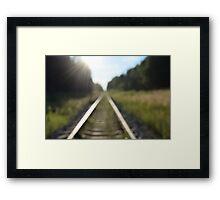 railway tracks through the forest Framed Print