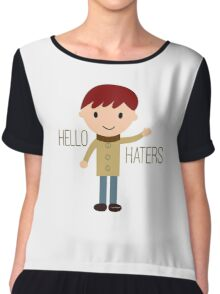 Cool Funny Vintage Cartoon Hipster Design - Hello Haters Chiffon Top