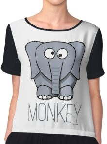 Funny Monkey Elephant Design Chiffon Top