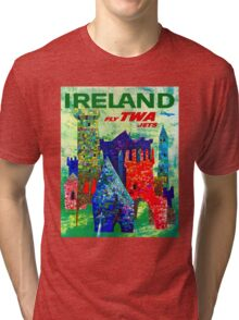 """TWA AIRLINES"" Vintage Fly to Ireland Advertising Print Tri-blend T-Shirt"