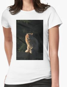 Ginger cat snarling on garden fence Womens Fitted T-Shirt