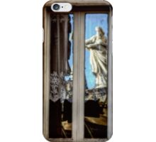 Statue reflection on window iPhone Case/Skin