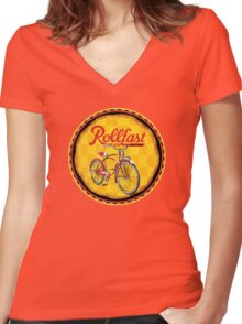 Rollfast Bicycles Women's Fitted V-Neck T-Shirt