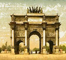 A digital painting of the Arc de Triomphe, du Carrousel, Paris, France 19th century by Dennis Melling