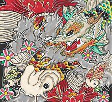 Koi dragon with koi fish by Adam  Parsons