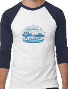 Exploring the Local Life Blue Truck and Camper Men's Baseball ¾ T-Shirt