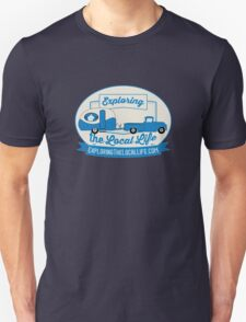 Exploring the Local Life Blue Truck and Camper Unisex T-Shirt