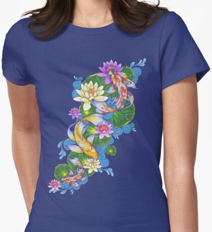 Lotus Koi Pond Womens Fitted T-Shirt