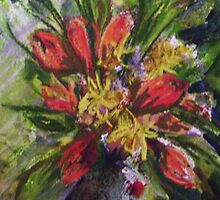 Vase - acrylic monoprint & pastel by Terri Maddock
