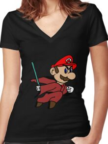Flying Jedi Mario Women's Fitted V-Neck T-Shirt