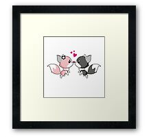 Fox in love - cute animal cartoon  Framed Print