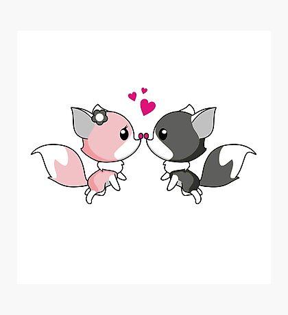 Fox in love - cute animal cartoon  Photographic Print